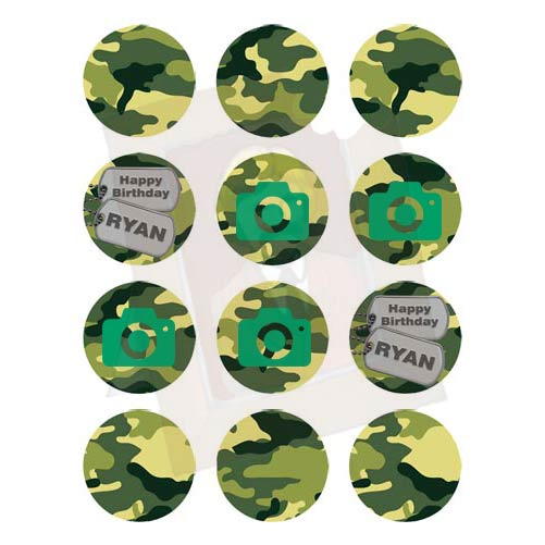 Camo Edible Photo Icing Toppers