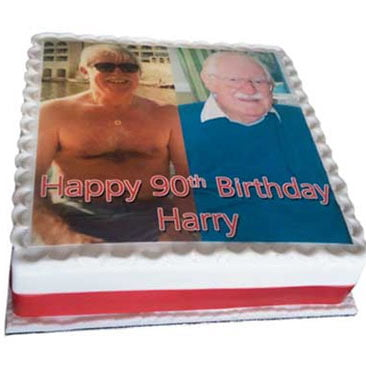Personalised photo cake with red ribbon