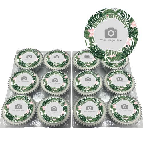 Green Flower Cupcakes