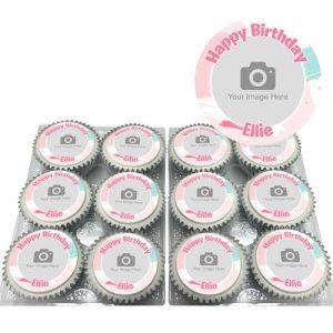 Pink Brush Cupcakes