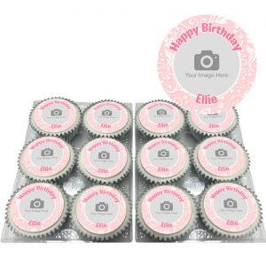 Pink Ornate Flower Cupcakes