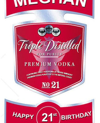 Personalised Smirnoff Edible Label