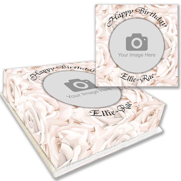 white rose photo birthday cake online