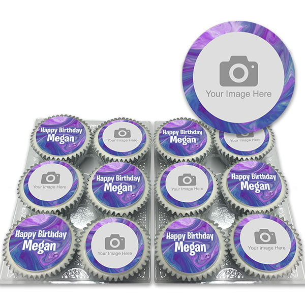 Purple Marble Photo Cupcakes Delivered