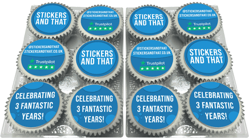 Stickers and That Logo Cupcakes